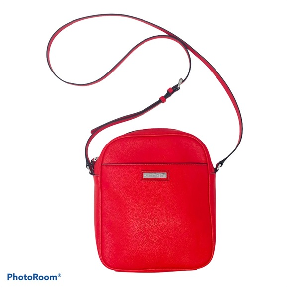 Calvin Klein Faux Red Leather Crossbody Purse